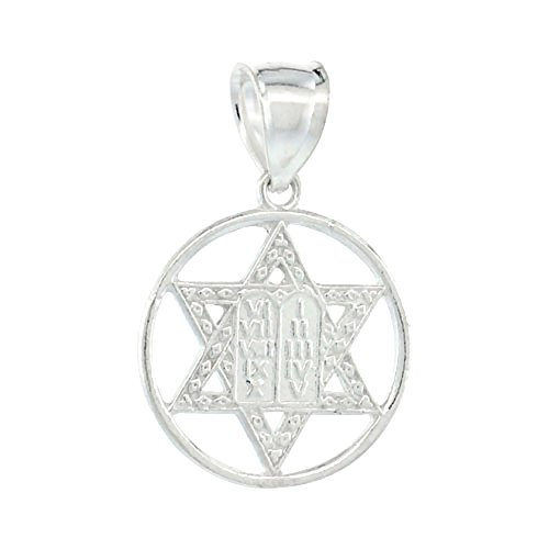 Sterling Silver David Pendant Commandments
