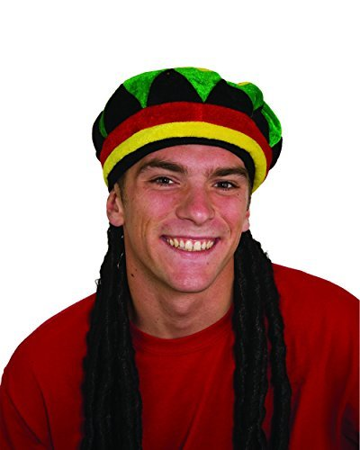 Jamaican Rhasta Hat with Dreadlocks, Black, One Size -
