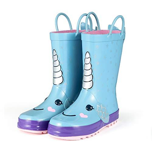 KomForme RSGD003-3M Animal Kids Rain Boots for Girls Snow Unicorn,3 M US Big Kid