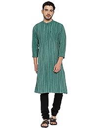 PIVOTO Men Green Striped Slim Fit Long Kurta