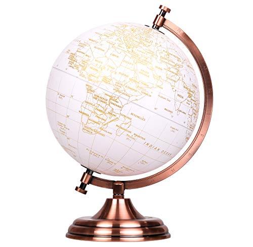 EXERZ 20cm Globo Dorado Color Metalico - en Ingles - Decoracion Educativa, Geografica, De Escritorio Moderna - Arco Y Base De Metal, Recubiertos En Color Dorado