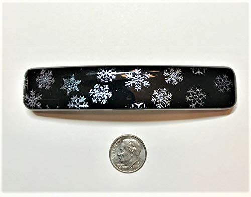 Handmade Dichroic Glass Barrette by Janet Wolery - SNOWING OUTSIDE