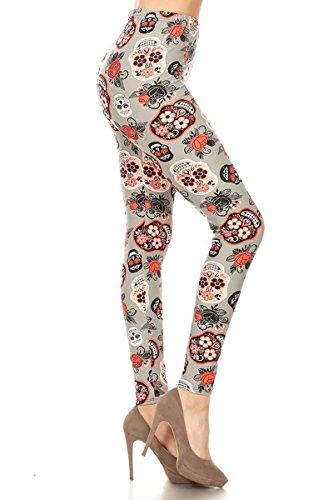3 Piece Elastic Waist Leggings - Leggings Depot Women's Ultra Soft Popular Best Printed Fashion Leggings BAT25 (3X-5X, Chiffon Skull)
