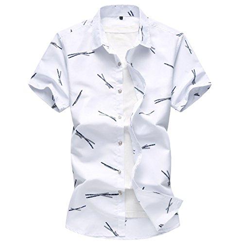 Corta Manica Print Uomo Camicia Summer Hawaiian Allthemen White qfwt18PR1