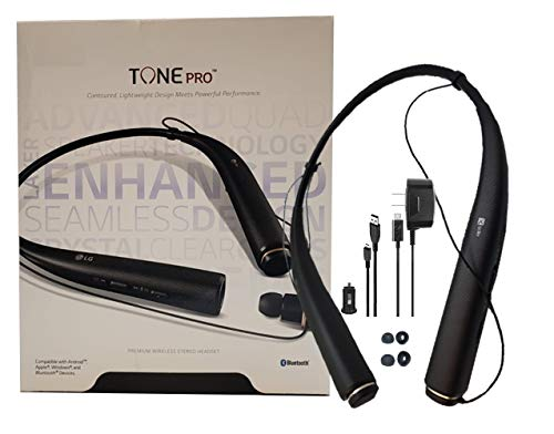 - LG Tone 780  Black - Bluetooth Wireless Stereo Headset with Car Charger, Ear Gels with Car/Wall Charger (Renewed)