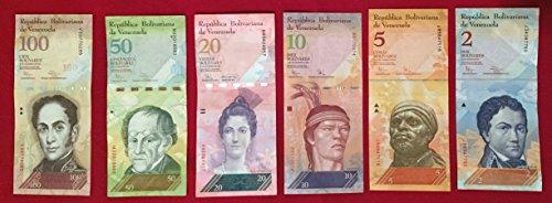 2, 5, 10, 20, 50, 100 BsF Pack 6 Venezuelan Circulated Banknote Bolivares