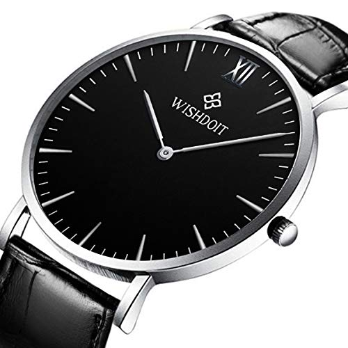 Men's Watch Ultra-Thin Minimalist Black Quartz Watch Fashion Waterproof Watch for Men Stainless Steel with Classic Black Milanese Mesh/Leather Band (Leather Gents Black Watch)