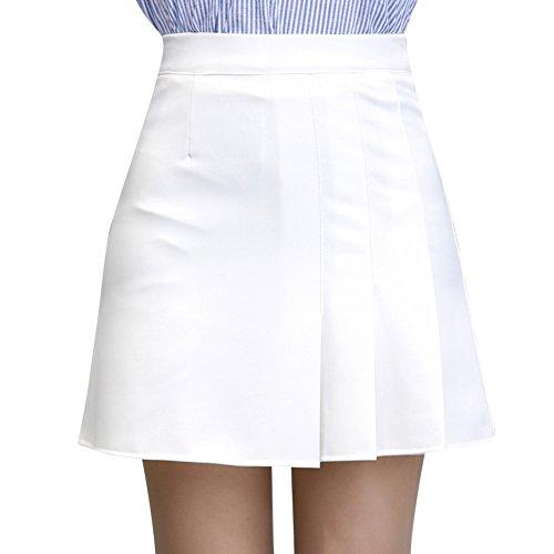 ZiXing Femme Mini Jupe Patineuse Ecossais vas Basique Plisse Plaid Court Jupe Blanc