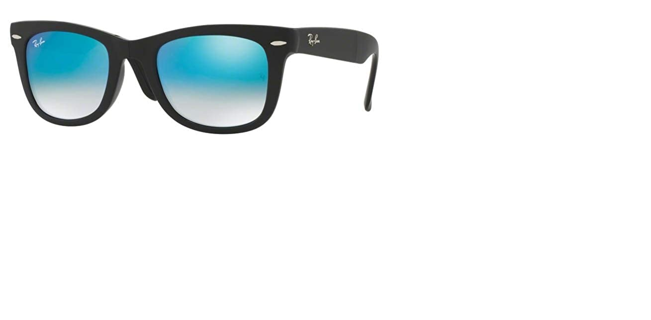 86d102ed71 Amazon.com  Ray-Ban RB4105 60694O Wayfarer Folding Black Frame   Mirror  Gradient Blue Lens 50mm  Clothing