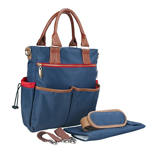 Vbiger Multi-functional Diaper Bag Large-capacity Nursing Shoulder Bag Portable Nappy Bags for Mommy and Baby, Shoulder Strap, Stroller Straps, Changing Pad (Blue)