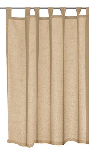 Schlaufenschal Seidenglanz halbtransparent Vorhang Übergardine Schlaufen Gardine kurz oder lang #1321 (beigesand, 145 kurz)