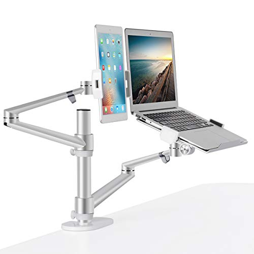MPK Monitor and Laptop Mount Tablet Holder, 3-in-1 Adjustable Dual Monitor Arm Desk Mounts£¬Single Desk Arm Stand/Holder for 17 to 27 Inch LCD Computer Screens, Extra Tray Fits 12 to 17 inch Laptops (Tablet Arm Desk)
