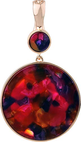 - Wearable Art by Roman Red Multi Disc Drop Pendant Rose Gold Tone Multi