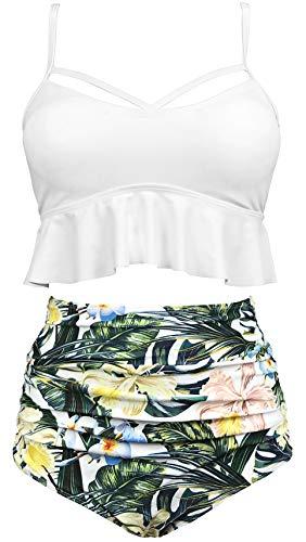 (Gabrielle-Aug Women's Retro Two Pieces High Waisted Ruffle Bikini Set Flounce Falbala Swimwear Bathing Suit (White, 18))