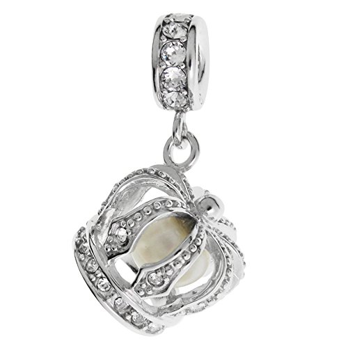 Dreambell Rhodium On 925 Sterling Silver White Fresh Water Pearl Crystal Crown Dangle for European Charm Bracelets ()