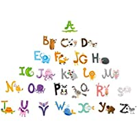 Baby Nursery Animal Alphabet Peel & Stick Kids Wall Decals - Multi-color Educational Wall Art Classroom Stickers for…
