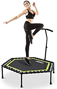 """ONETWOFIT 48"""" Silent Mini Trampoline with Adjustable Handle Bar Fitness Trampoline Bungee Rebounder Jumpi"""
