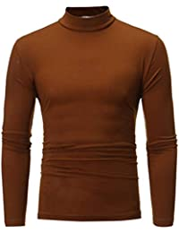 Autumn Winter Men's Striped Turtleneck Long Sleeve T-Shirt Top Blouse