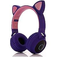 TråDlöSt Headset, TråDlöSt Bluetooth 5.0 Headset Led-Lampor Cat Ear Barn HöRlurar FöR Pojkarflickor