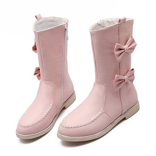 WeenFashion Boots Heels Women's top Pink PU Low Zipper Solid Low rfRwFrq8