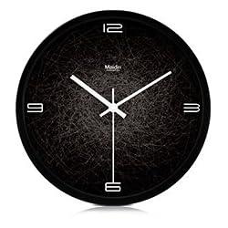 Modern Creative Round 12-inch Non Ticking Silent Wall Clock - Spiderweb