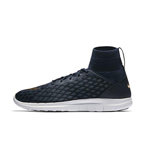 Nike Free Hypervenom 3 Fc Fk Uomo Scarpe Da Calcio 898029 College Blu Scuro / Metallizzato Oro-blu Volpe