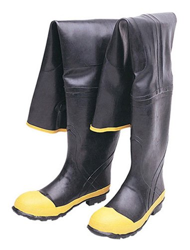 Liberty DuraWear Rubber Fabric Lined Protective Hip Wader Boot with Reinforced Knee and Front, Size 11, Black