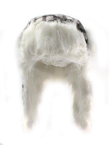 Chapeau Trappeur Fourrure Vérifié Carré Accessoryo Avec Et Noir Les De Doublure En 58cm Disponible 59cm Ou Faux Tailles Blanc Dans wpW77IAqY