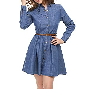 Allegra K Women's Long Sleeves Belted Flared Above Knee Denim Shirt Dress