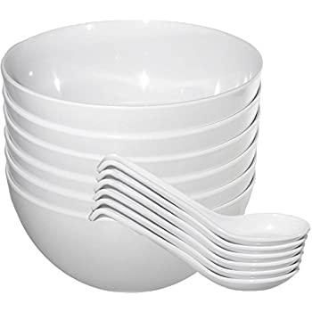 Chef Miso Set of Six Extra Large Melamine Pho Bowls and Spoons White 48 Ounce