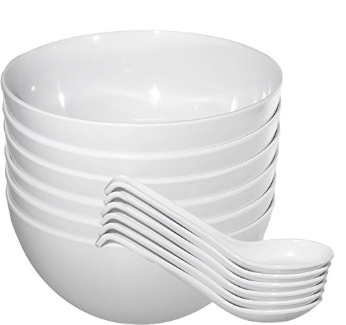 (Chef Miso Set of 6 Extra Large Melamine Pho Bowls and Spoons - White 48 Ounce)