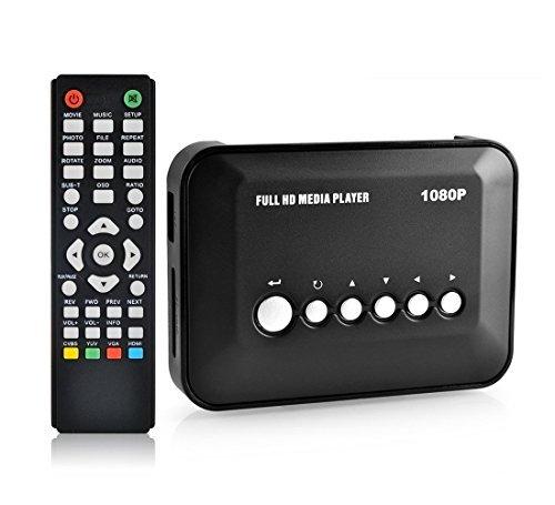 Gearmax® Full HD 1080P Medien Media Player Center RM / RMVB / AVI / MPEG Multimedia Multi Media Video-Player 2x USB 2.0 Ports mit HDMI YPbPr VGA AV USB SD / MMC-Port Fernsteuerung Remote Control