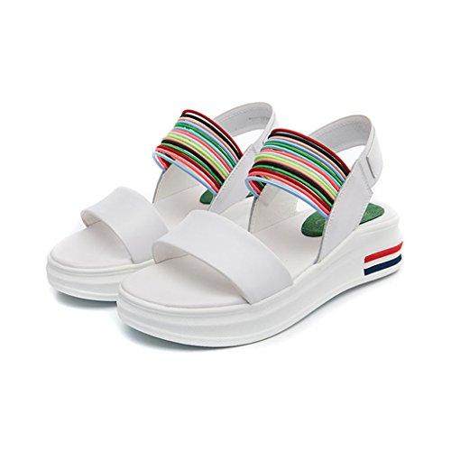 LIXIONG Portátil Suelas espesas de las sandalias Verano femenino Una fuente Gama del color Vientre de la universidad zapatos planos Zapatos cómodos simples ocasionales -Zapatos de moda ( Color : A , T B