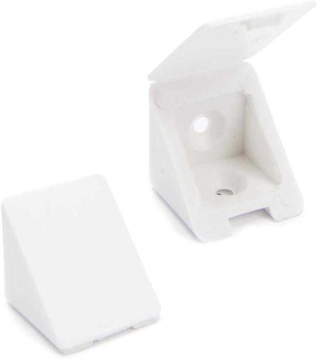 40 x Conector de muebles/conector angular con tapa | Sossai® BT1, 2 agujeros | Color: blanco | Material: plástico