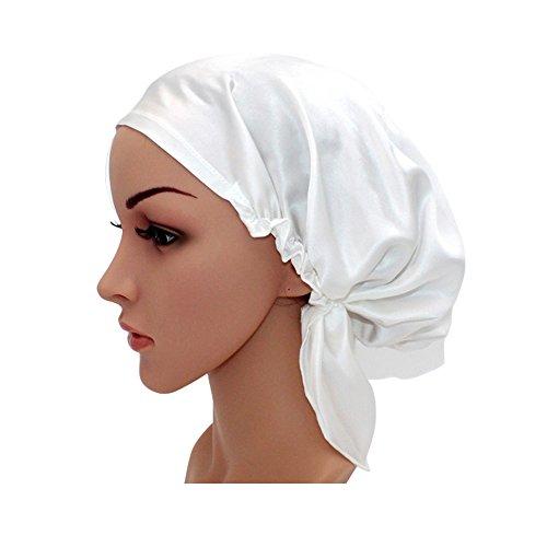 Price comparison product image Women's Silk Night Cap -Beanie Cap- Home Jackets Hair Dry Caps 100% Silk Bathtub Cap Lace Cap Hooded Hat (White)