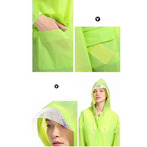 Gwell Adulte Manteau de Pluie Poncho Pluie Femme Homme Transparent Veste à Capuche Imperméable EVA Blanc