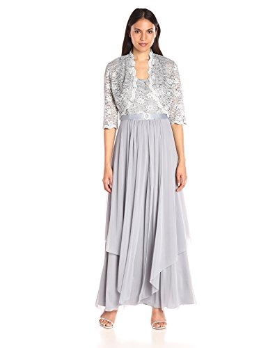 R&M Richards Women's 2 PCE Lace Georgette Jacket Dress, Silver, 18