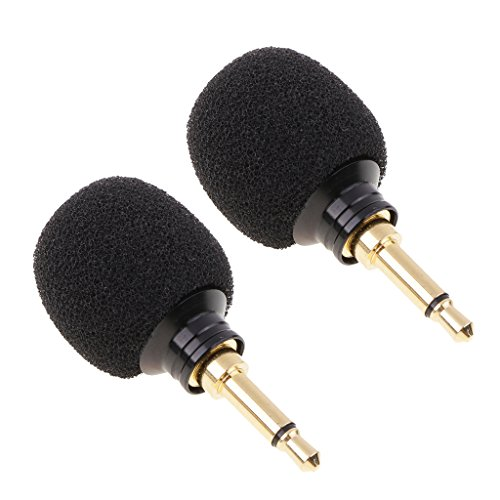 (Dovewill 2Pack Mini Plug-in Vocal Instrument Condenser Recording Mic Microphone Megaphone Mono 3.5mm Plug For Wireless Mike System)