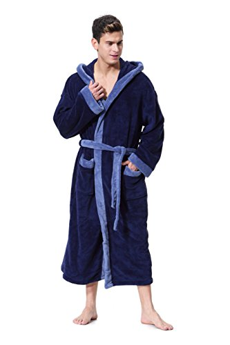 Blue Hooded Robe (OUFANG Men's Hooded Bathrobe Blue/Turquoise Soft spa Kimono Shawl Collar Hooded Long Robe Unisex (Medium))