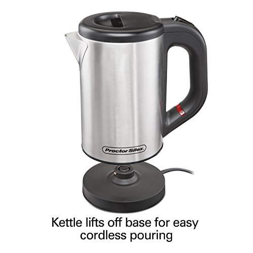 Proctor Silex Compact Electric Tea Kettle, Water Boiler & Heater. 0.5 L, Cordless, Auto-Shutoff and Boil-Dry Protection, Stainless Steel (40940)