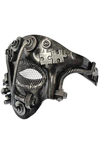 [Mememall Fashion Steampunk Robot Phantom Mardi Gras Masquerade Venetian Mask (Silver)] (Dog Costumes For Mardi Gras)