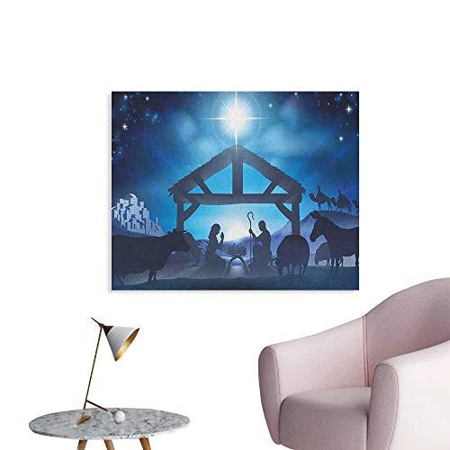 Anzhutwelve Blue Art Decor Decals Stickers Birth Scene in Bethlehem with Christmas Star Barn Animals Magical Night Cool Poster Grey Dark Blue Sky Blue W32 xL24