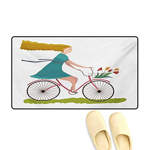 Tulip Basket - Bath Mat,Young Woman on Bike with Basket of Tulip Flowers Riding in The Spring Countryside,Door Mats Area Rug,Multicolor,16