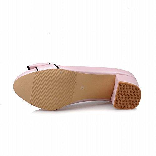 MissSaSa Damen modern und süß Chunky heel Schleife Low-cut Pumps mit Blockabsatz Pink