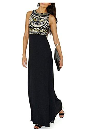 Damen Vintage Bohemian Kleider A-Line Chiffon Dress Summer Strandkleid Hipster Kleider Lang Elegant Strand Sommerkleider Folklore-Maxi Dress