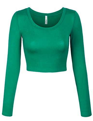 KOGMO Womens Long Sleeve Crop Top Solid Round Neck T Shirt -L-Green