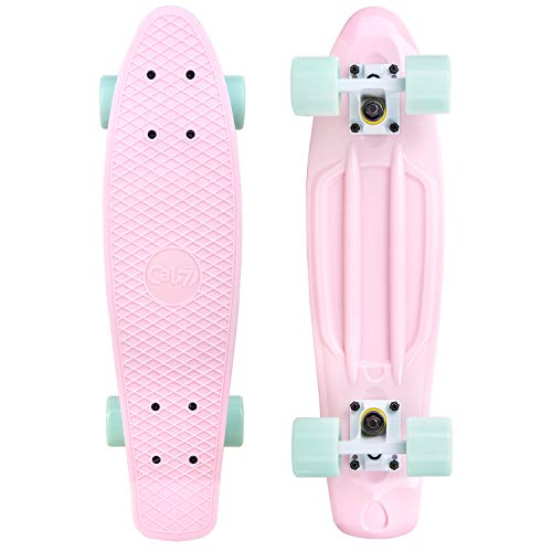 Cal 7 Complete Mini Cruiser | 22 Inch Micro Board | Vintage Skateboard for School and Travel (Lotus)