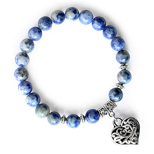 MHZ JEWELS Blue Sodalite Gemstone Round Bead Bracelets Love Heart Charm Stretchy Beaded Bracelets Valentines Day Gifts
