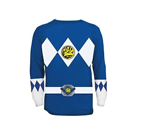 The Power Rangers Long Sleeve Ranger Costume Blue T-shirt (Adult -