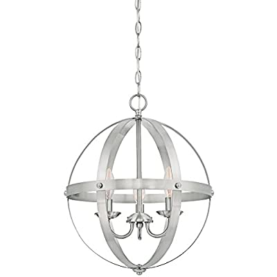 Westinghouse Lighting 6341900 Stella Mira Indoor Chandelier, 3-Light Pendant, Brushed Nickel - Industrial vintage style three-light chandelier is perfect for entryways and dining rooms Elegant Brushed Nickel finish adds casual rustic appeal 17-1/4-inches in height; 15-1/16-inches in diameter; 36 inch chain; 60 inch cord - kitchen-dining-room-decor, kitchen-dining-room, chandeliers-lighting - 4196VE oX1L. SS400  -